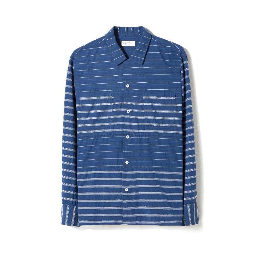 Universal Works Midnight Stripe Panel Long Sleeve Shirt (Mix)