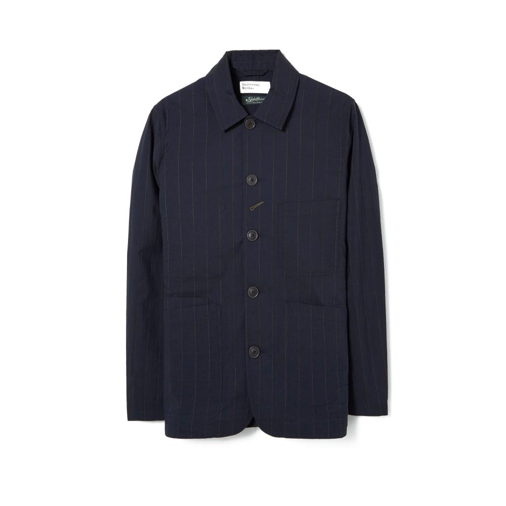 Universal Works Raised Pinstripe Bakers Jacket (Navy)