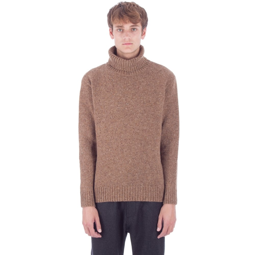 Universal Works Roll Neck Jumper (Camel Lambswool Fleck)