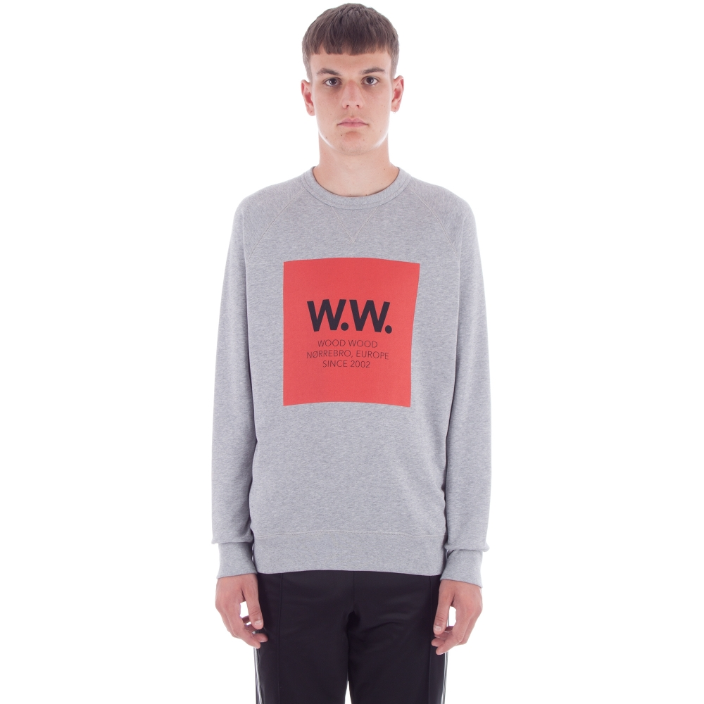 Wood Wood Hester Crew Neck Sweatshirt (Grey Melange)