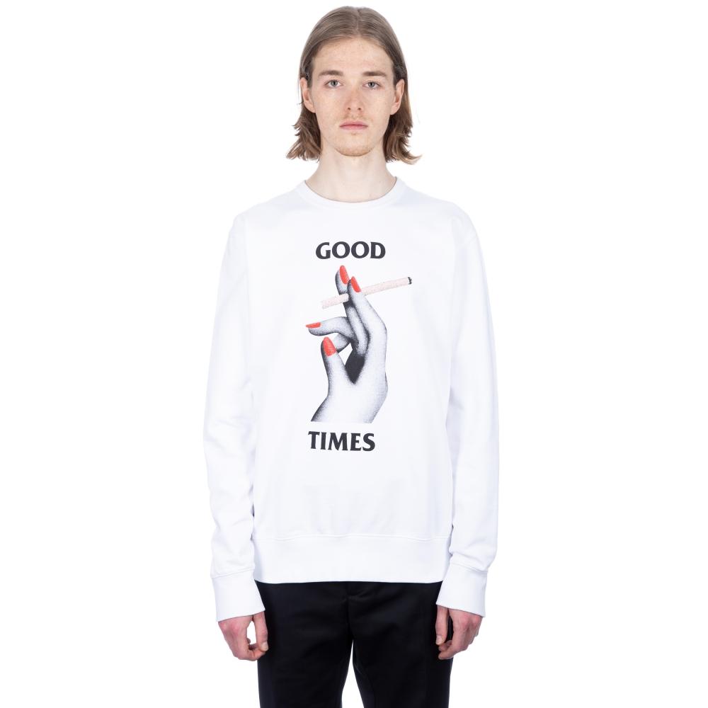 Wood Wood Hugh Crew Neck Sweatshirt (Bright White)