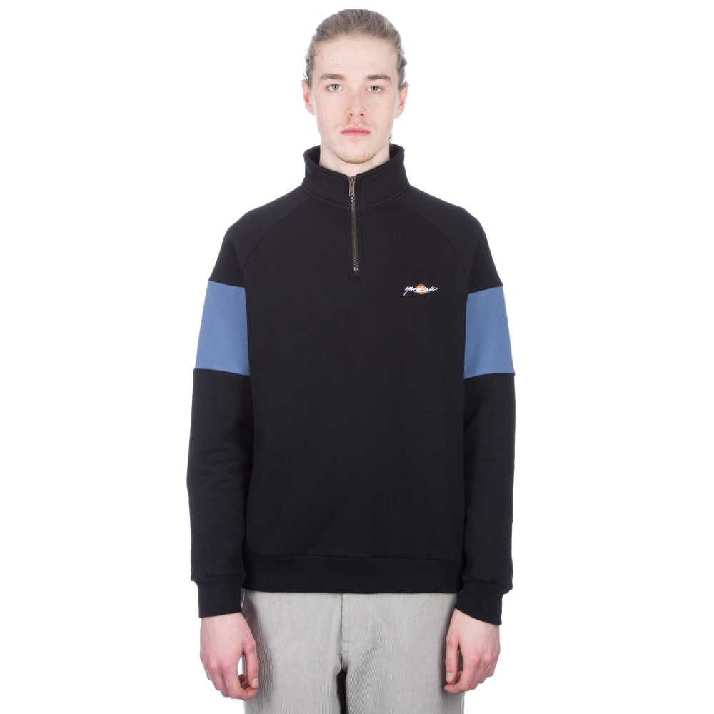 Yardsale Sun-Script Quarter Zip Sweatshirt (Black/Blue)