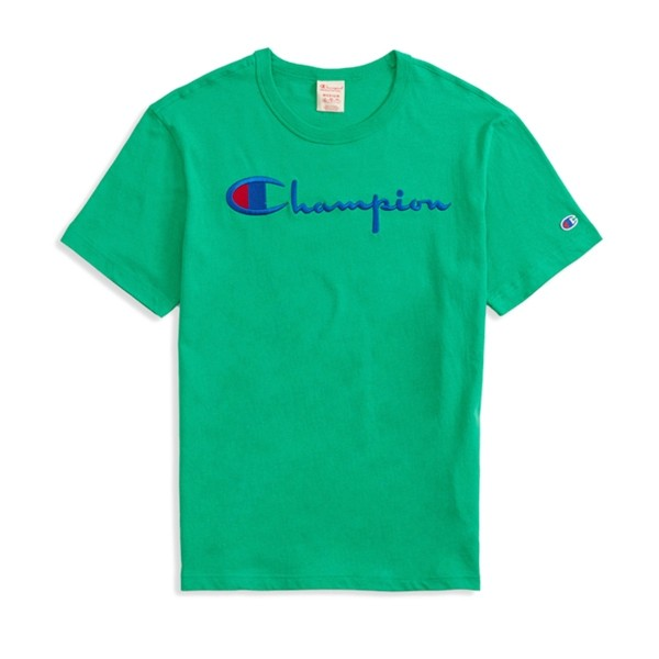 Champion Reverse Weave Script Applique Crew Neck T-Shirt (Green)
