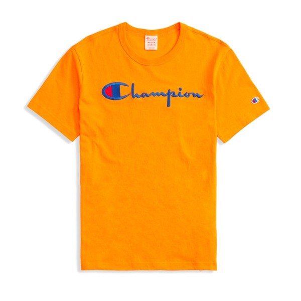 Champion Reverse Weave Script Applique Crew Neck T-Shirt (Orange)