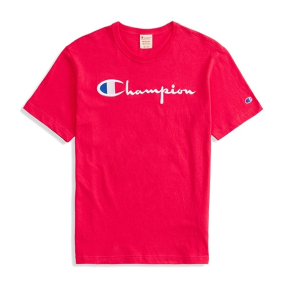 Champion Reverse Weave Script Applique Crew Neck T-Shirt (Hot Pink)