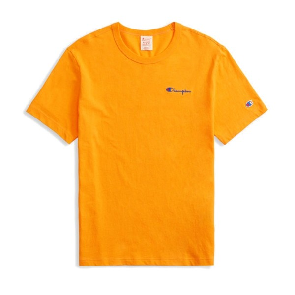 Champion Reverse Weave Small Script Crew Neck T-Shirt (Orange)