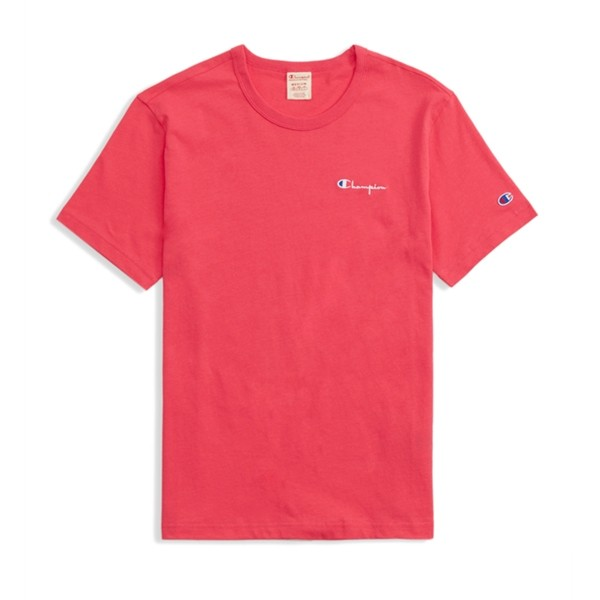 Champion Reverse Weave Small Script Crew Neck T-Shirt (Hot Pink)