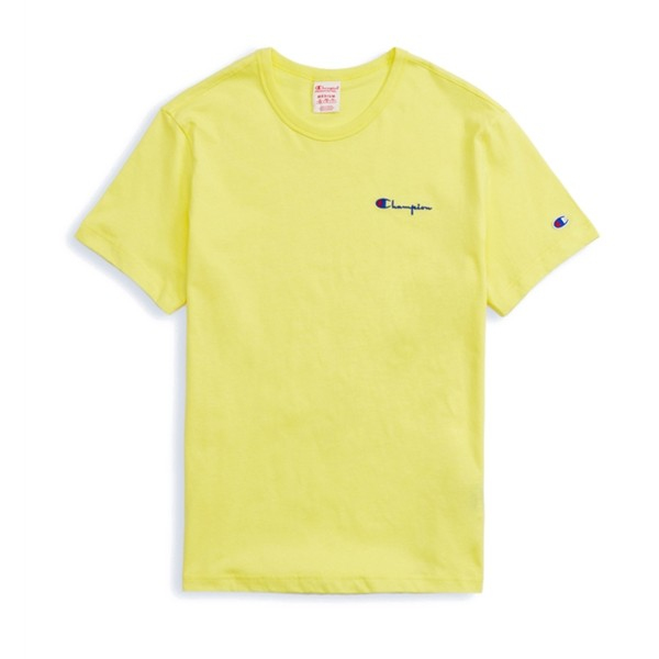 Champion Reverse Weave Small Script Crew Neck T-Shirt (Yellow)