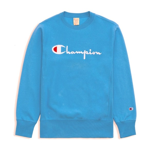 Champion Reverse Weave Script Applique Crew Neck Sweatshirt (Light Blue)