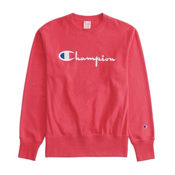 Champion Reverse Weave Script Applique Crew Neck Sweatshirt (Hot Pink)