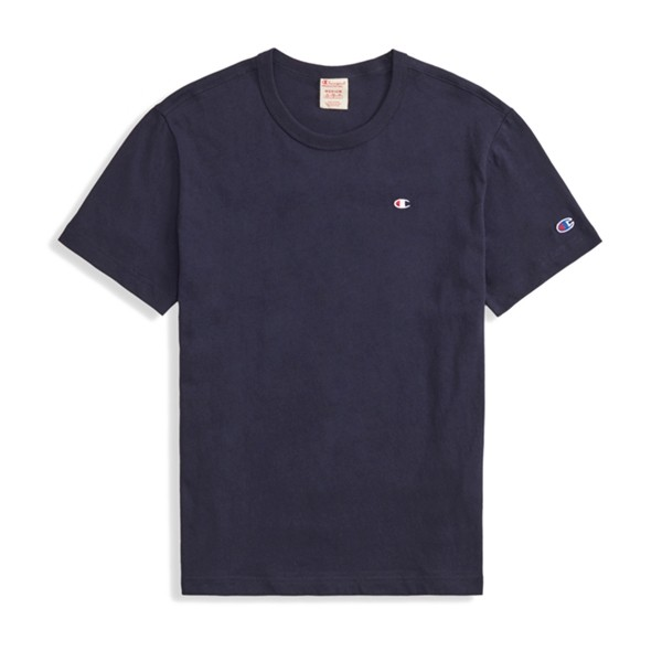 Champion Reverse Weave Script Logo Back Crew Neck T-Shirt (New Navy)