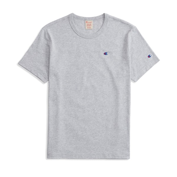 Champion Reverse Weave Script Logo Back Crew Neck T-Shirt (Light Oxford Grey)
