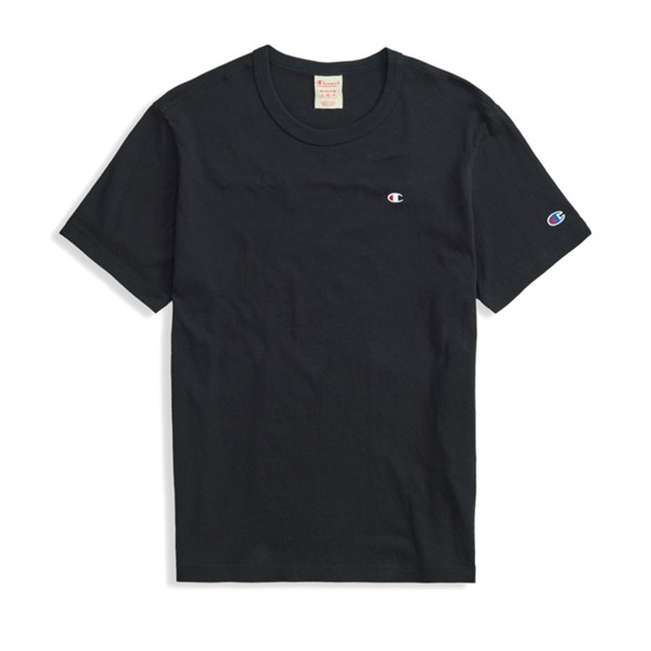 Champion Reverse Weave Script Logo Back Crew Neck T-Shirt (New Black)