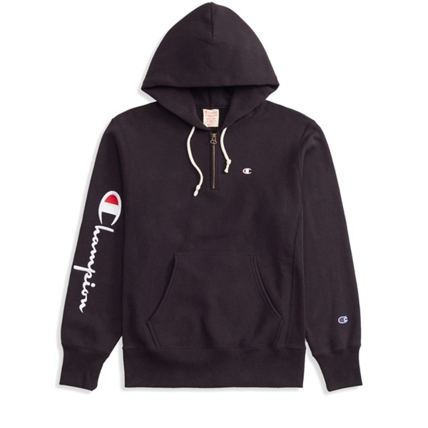 Champion Reverse Weave Logo Half Zip Pullover Hooded Sweatshirt (New Black)