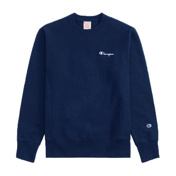 Champion Reverse Weave Vertical Script Applique Crew Neck Sweatshirt (Navy)