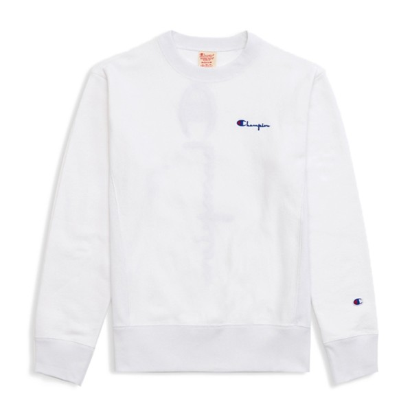 Champion Reverse Weave Vertical Script Applique Crew Neck Sweatshirt (White)