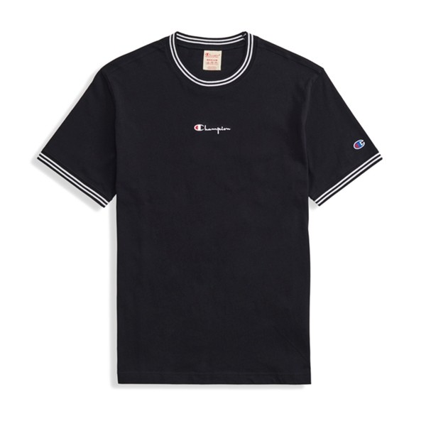 Champion Reverse Weave Striped Ringer Small Script Logo T-Shirt (New Black)