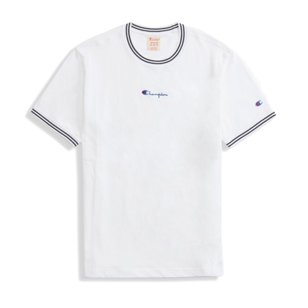 Champion Reverse Weave Striped Ringer Small Script Logo T-Shirt (White)