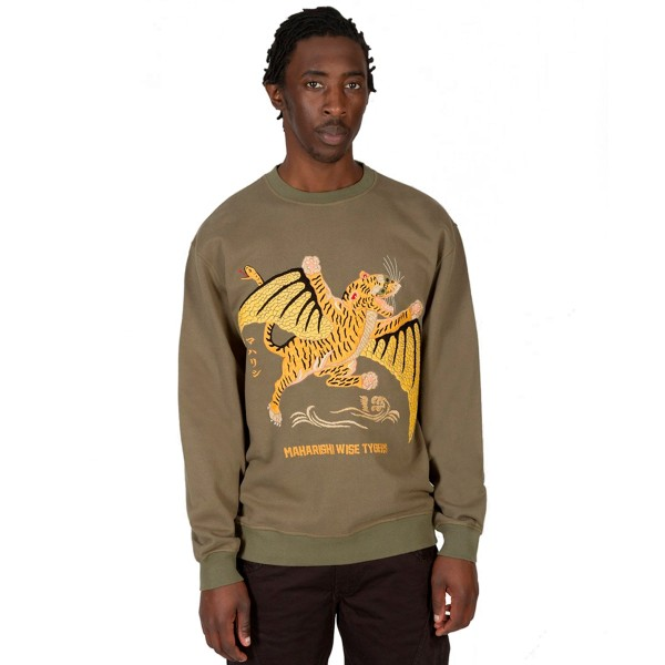 Maharishi Wise Tygers Crew Neck Sweatshirt (Maha Olive Tygers of Darkness Embroidery)