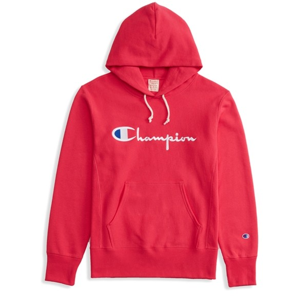 Champion Reverse Weave Script Applique Pullover Hooded Sweatshirt (Hot Pink)