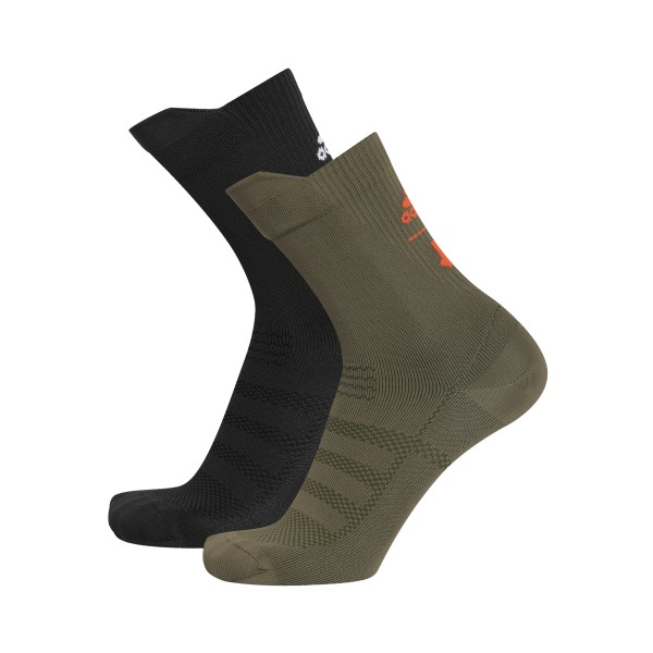 adidas by UNDEFEATED Socks 2-Pack (Olive Cargo/Black/Orange/White)
