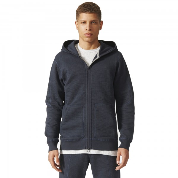 adidas Originals by wings + horns Cabin Fleece Full-Zip Hooded Sweatshirt (Night Grey)