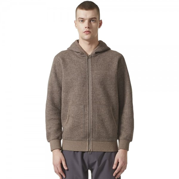 adidas Originals by wings+horns Wool Zip Through Hooded Sweatshirt (Simple Brown)