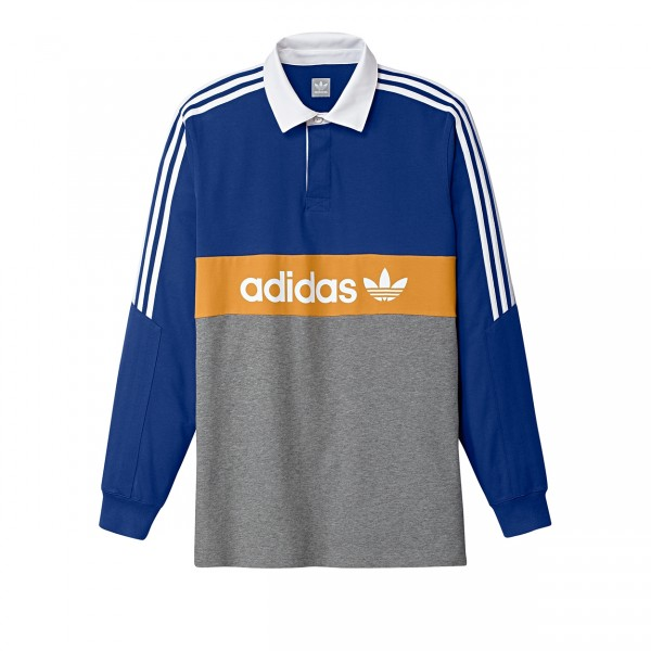 adidas Skateboarding Heritage Polo Shirt (Collegiate Royal/Core Heather/Tactile Yellow/White)