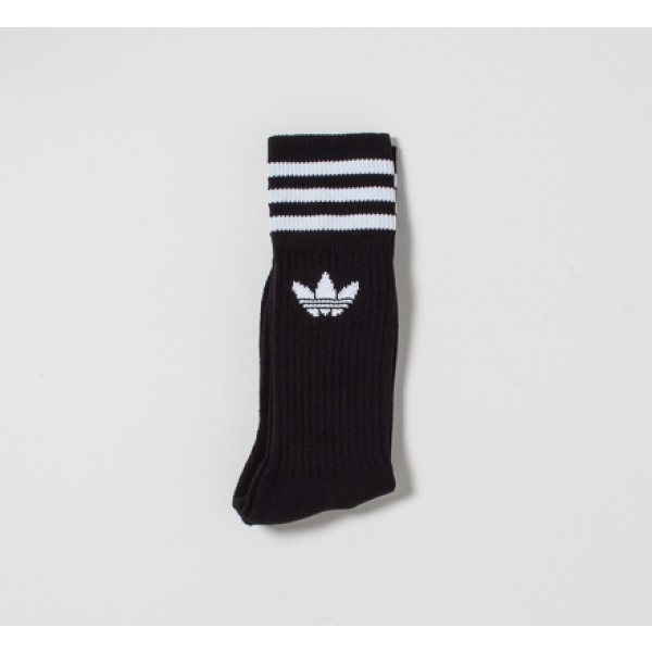 adidas Solid Crew Socks Triple Pack (Black/White)