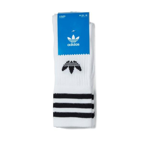 adidas Solid Crew Socks Triple Pack (White/Black)