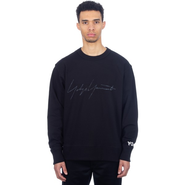 adidas Y-3 Distressed Signature Crew Neck Sweatshirt (Black)