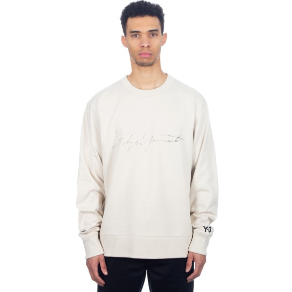 adidas Y-3 Distressed Signature Crew Neck Sweatshirt (Ecru)