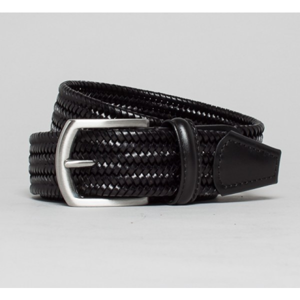 Anderson's Elasticated Plaited Leather Belt (Black)