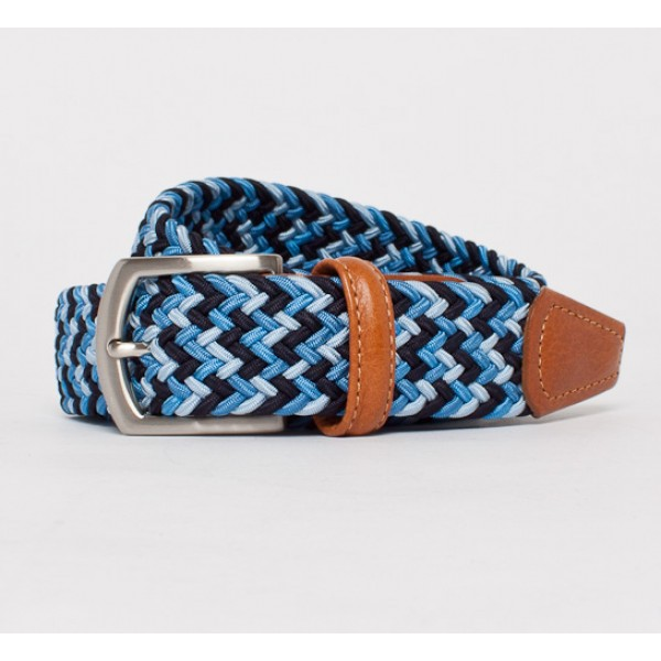 Anderson's Plaited Elasticated Belt (Blues/Light Tan)