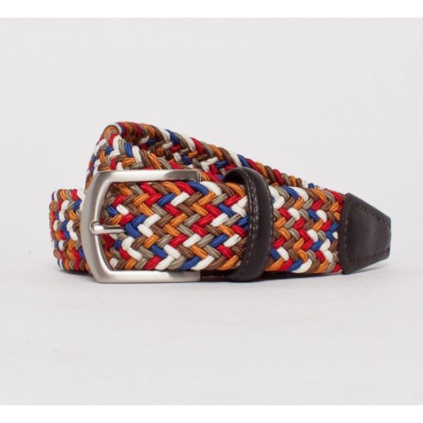 Anderson's Plaited Elasticated Belt (Multi Colour/Dark Brown)
