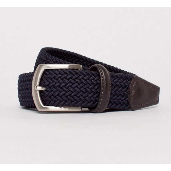 Anderson's Plaited Elasticated Belt (Navy/Dark Brown)