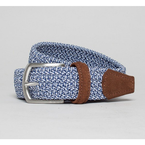 Anderson's Plaited Elasticated Belt (Navy Marl/Tan)