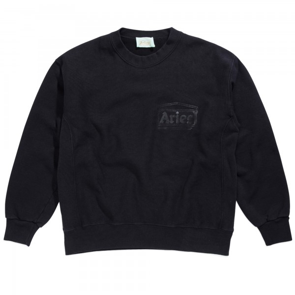 Aries Classic Cross Grain Temple Crew Neck Sweatshirt (Black)