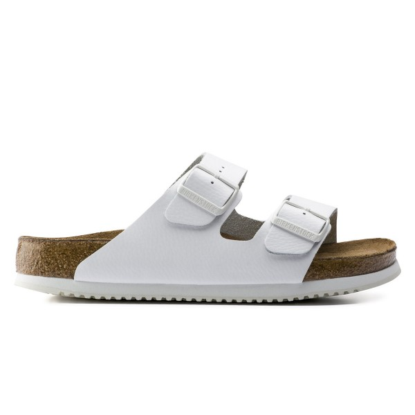 Birkenstock Arizona Natural Leather Soft Foot Bed Super-Grip Narrow Fit (White)