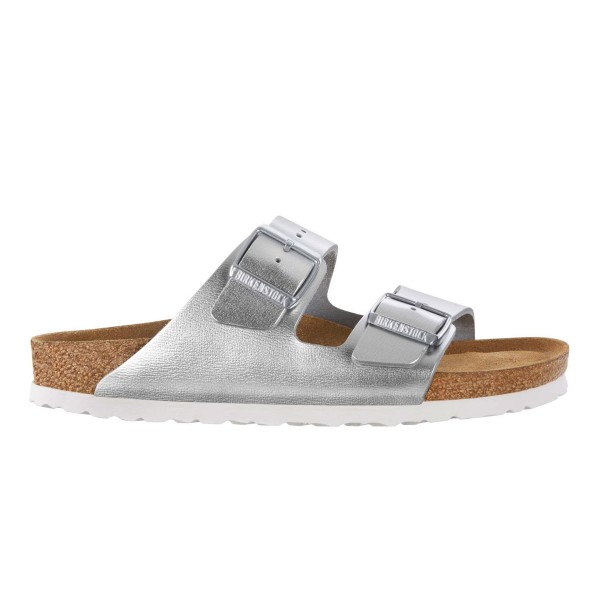 Birkenstock Arizona Natural Leather Soft Footbed Narrow Fit (Metallic Silver)