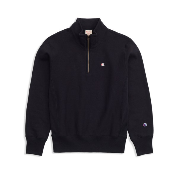 Champion Reverse Weave Half Zip-Through Turtleneck Sweatshirt (Black)