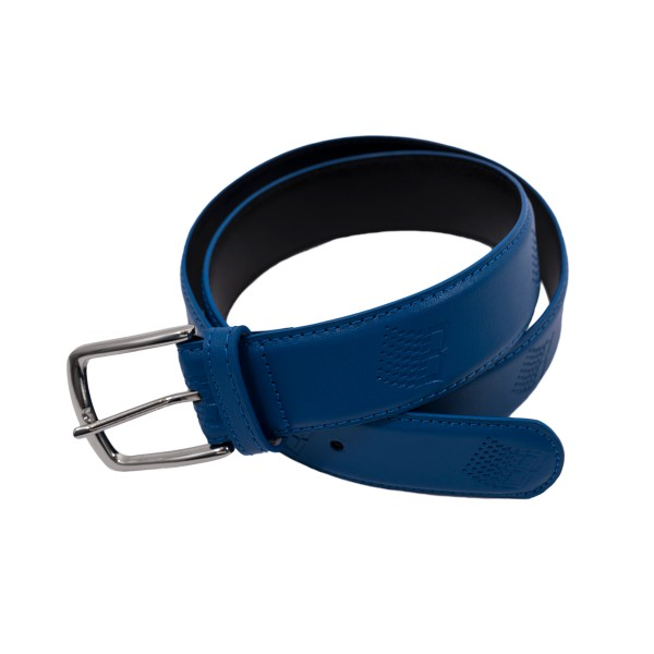 Bronze 56k B Logo Embossed Leather Belt (Blue)
