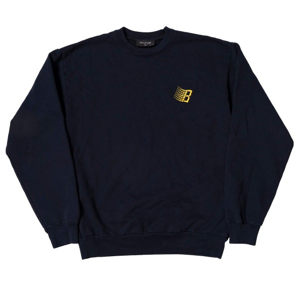 Bronze 56k Embroidered B Logo Crew Neck Sweatshirt (Navy)