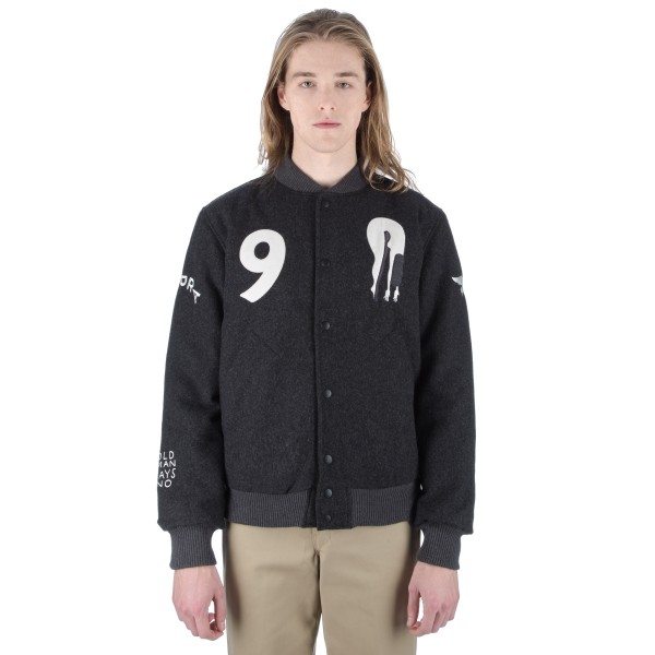 by Parra All That Ever Mattered Wool Varsity Jacket (Charcoal Grey)
