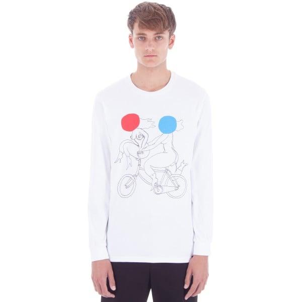 by Parra Biker Girls Long Sleeve T-Shirt (White)