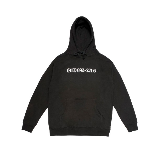 Call Me 917 Dialtone Pullover Hooded Sweatshirt (Black)