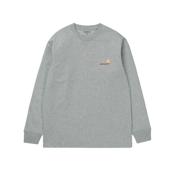 Carhartt American Script Long Sleeve T-Shirt (Grey Heather)