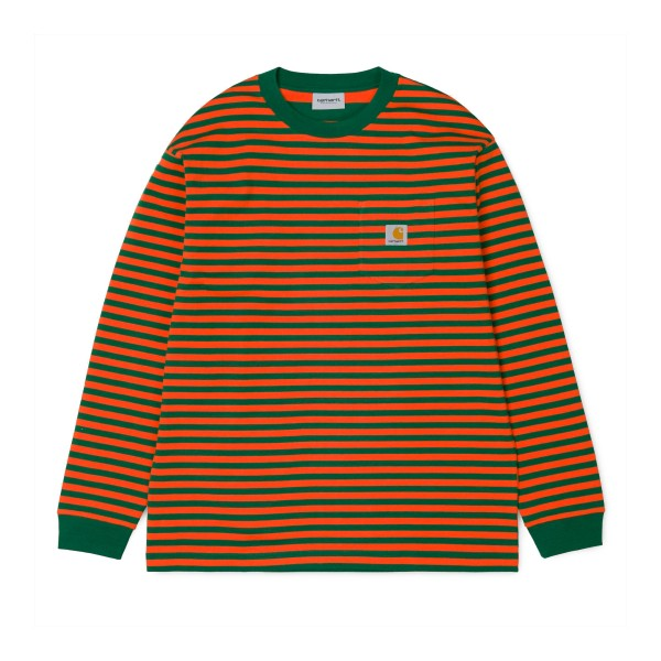 Carhartt Barkley Long Sleeve Pocket T-Shirt (Barkley Stripe, Dragon/Clivia)