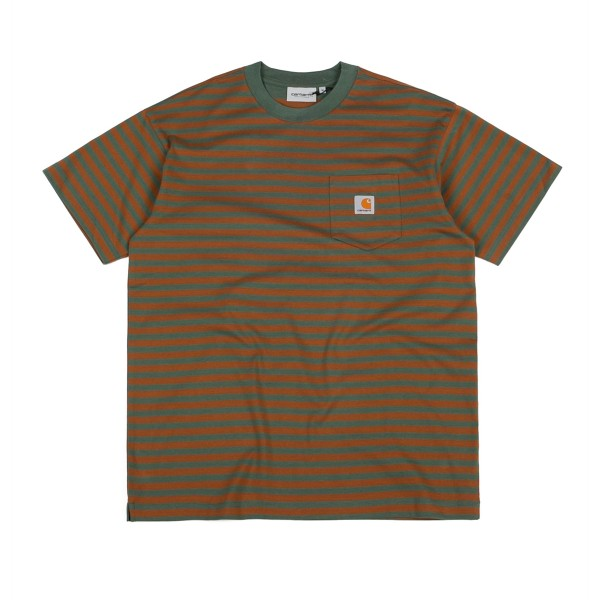 Carhartt Barkley Pocket T-Shirt (Barkley Stripe, Adventure/Hamilton Brown)