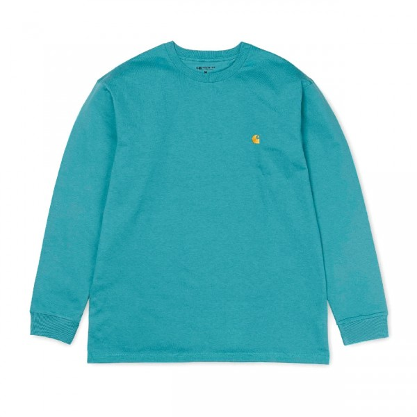 Carhartt Chase Long Sleeve T-Shirt (Soft Teal/Gold)